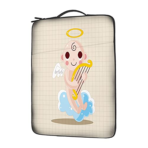 IBILIU Angel Laptop Sleeve 13 Inch with Handle,Cute Flying Angel Cartoon White Wing Laptop Carrying case Laptop Bag for Man Women