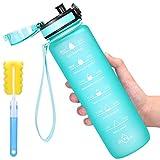 Favofit - Borraccia per acqua con indicatore temporale, 90 ml, con filtro per frutta e spazzola per la pulizia, senza BPA e a prova di perdite, menta