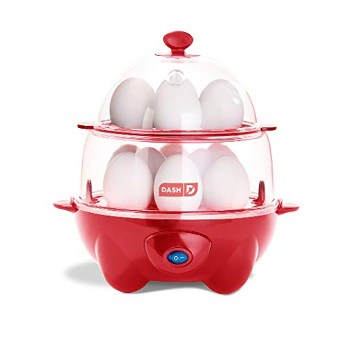 Dash Deluxe Rapid Egg Cooker: Electric, 12 Egg Capacity for Hard Boiled, Poached, Scrambled, Omelets, Steamed Vegetables, Seafood, Dumplings - Red