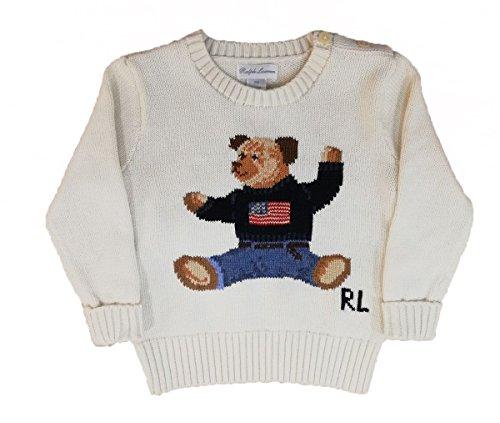 RALPH LAURENT - Bear Sweater - Pull Punto Ours Enfant - Beige - 24 mois
