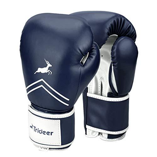 Trideer Pro Grade Boxing Gloves for Men & Women, Kickboxing Bagwork Gel Sparring Training Gloves, Muay Thai Style Punching Bag Mitts, Fight Gloves (Midnight & Blue, 16 oz)