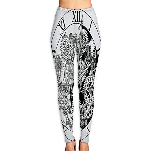 Pantalones de Yoga para Mujer,Ver Piezas. Mecanismo de Reloj con Ruedas dentadas. Ilustraciones. Engranaje de Reloj,Pantalones de Entrenamiento de Cintura Alta Medias elásticas de Yoga Impresas M