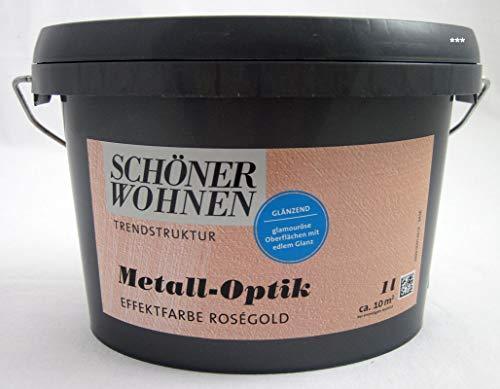 Schöner Wohnen 1 L. Metall-Optik Effektfarbe Rosegold glänzend, für ca. 10 m²