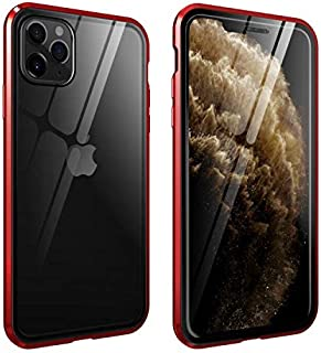 YMXPY 360° All-Around Protection Front Tempered Glass + Back Tempered Glass iPhone11 Case Metal Frame Magnetic Bumper Adsorption Full Cover (Red, iphone11)