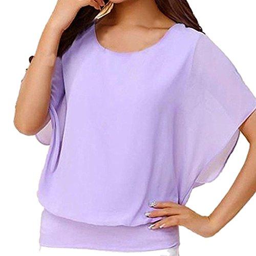 ESAILQ Damen Pailletten Shirt Träger Top Weste Top Oberteil Ärmellos T-Shirt Tanktop Blouse(M, Lila)