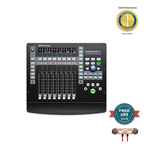 PreSonus FaderPort 8 8-Channel Mix Production Controller with Wireless Earbuds
