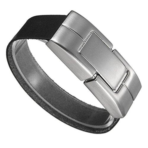 baishitop negro PU pulsera de cuero 32gb usb 2.0flash de disco U Pulgar Memory Stick Unidades de almacenamiento