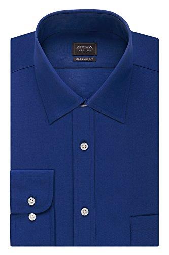 "Arrow Men's Poplin Regular Fit Solid Spread Collar Dress Shirt, Blue Ombre, 14-14.5"" Neck 32""-33"" Sleeve"