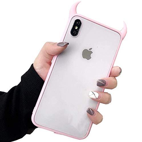 YHNJI Carcasa transparente para iPhone 11/11Pro/11Pro Max 3D de cuerno de diablo, carcasa de teléfono de silicona acrílica, protección de TPU a prueba de golpes, anticaídas, ultra fina, rosa, X/XS