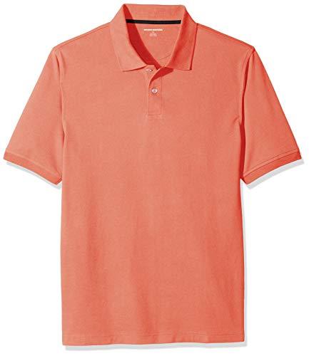 Amazon Essentials Regular-Fit Cotton Pique Polo Shirt, Arancione (Coral), Medium
