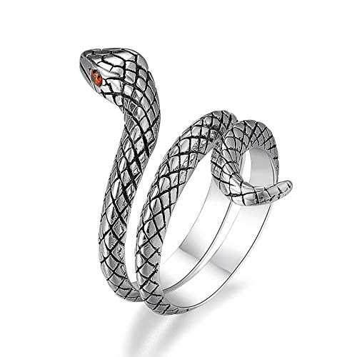 LJWJ Rings Creative Men's Finger Ornaments,Women's Personalized Serpentine Rings Anniversary Birthday Gift, Silver/Adjustable