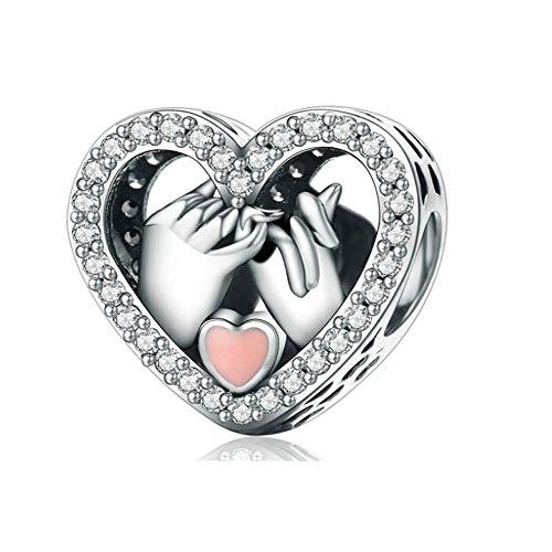 Annmors Cuore damore Bead Charm Donna argento Ciondolo a forma di, in argento Sterling 925, compatibile con braccialetti e collane europe