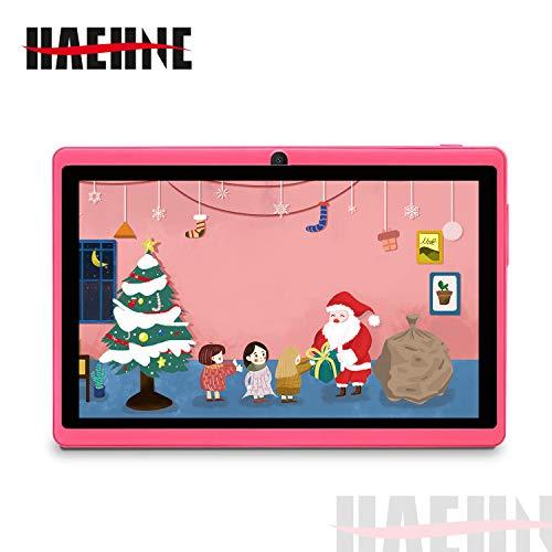 Haehne 7 Pollici Tablet PC, Android 9.0 Certificato da Google GMS, 1GB RAM 16GB ROM Quad Core, 1024*600 HD, Doppia Fotocamera, WiFi, Bluetooth, per Bambini e Adulti, Rosa