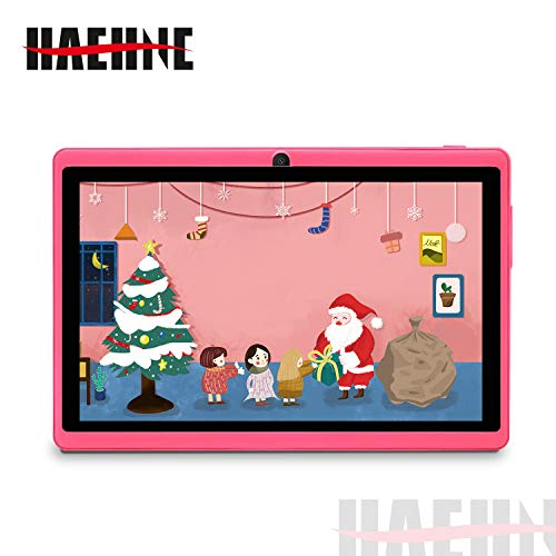 Haehne 7 Zoll Tablet PC, Google Android 9.0 GMS Zertifiziertes, Quad Core 1GB RAM 16GB ROM, Zwei Kameras, 1024 x 600 HD Display, Bluetooth, WiFi, Rosa