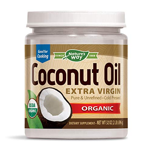 Nature's Way Organic Extra Virgin Coconut Oil Pure Cold-Pressed Organic Non-GMO 32 Ounce