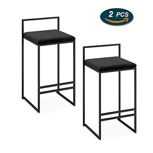 LHNLY-Esszimmerstühle Tresenhocker Küche Hausbar Möbel Designer-Metallstuhl-Möbel-Barhocker-Ausgangskreativ Hochleistungsküche-Pub-Reckhocker gepolsterter Sitz - Schwarz - [1pcs / 2pcs]