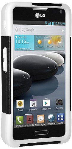 Amzer Double Layer Hybrid Case Cover with Kickstand for LG Optimus F6 D500, LG Optimus F6 MS500 - Retail Packaging - Black/White