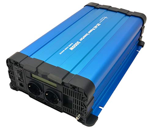 solartronics Spannungswandler FS3000D 12V 3000/6000 Watt Reiner Sinus BLAU m. Display FS Serie Inverter Wechselrichter