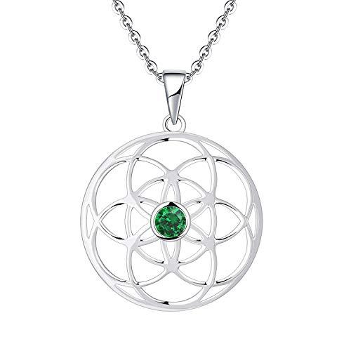 JO WISDOM Collar de Semilla de Vida Plata de Ley 925 Mujer, Collar Flor de la Vida con Circonita Cúbica AAA Mayo piedra de nacimiento Color Esmeralda