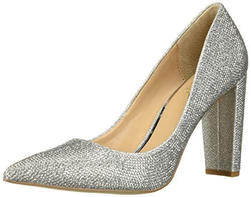 Jewel Badgley Mischka Women's RUMOR II Shoe, Silver Fabric, 9 M US