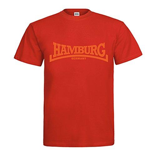 MDMA T-Shirt Hamburg Arch Style Germany N14-mdma-t00691-62 Textil red / Motiv orange Gr. M