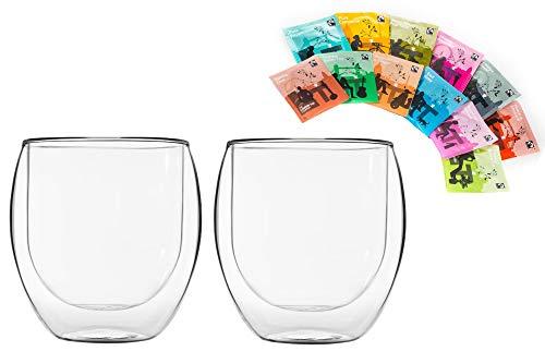 Feelino 2x 310ml Jumbo doppelwandiges Thermoglas + 12x verschiedene Teebeutel