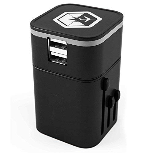 VENTURE 4TH Worldwide Travel Adapter Charger All in One Dual USB Charging Ports UK Europe – Black