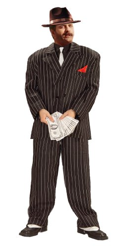 Forum Novelties Plus-Size Roaring 20's Extra Large Chicago Gangster Costume, Black, X-Large