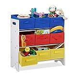Relaxdays Estantera Infantil con Cajas, Cestas Plegables, Tubos de Metal, MDF, 62x63x28 cm, Blanco/Multi-Color
