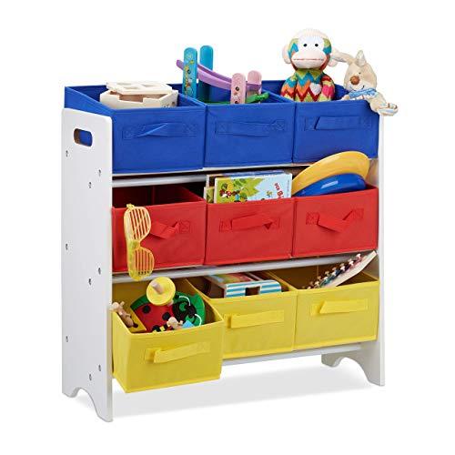 Relaxdays kinderrek met boxen, 9 opvouwbare manden met handvaten, metalen buizen, speelgoed, MDF, h x b x d: 62 x 63 x 28 cm, wit/bont