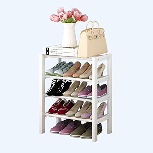Organizador de almacenamiento de zapatero apilable blanco, banco de soporte de asiento de 4 niveles para pasillo, dormitorio, pequeño zapato simple de madera para el hogar, estante económico para el