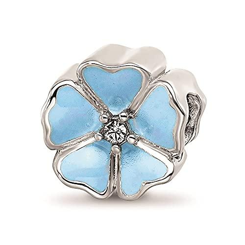 Reflexiones de plata de ley 925 con esmalte azul, circonita cúbica, diamantes de imitación, joyas para mujeres