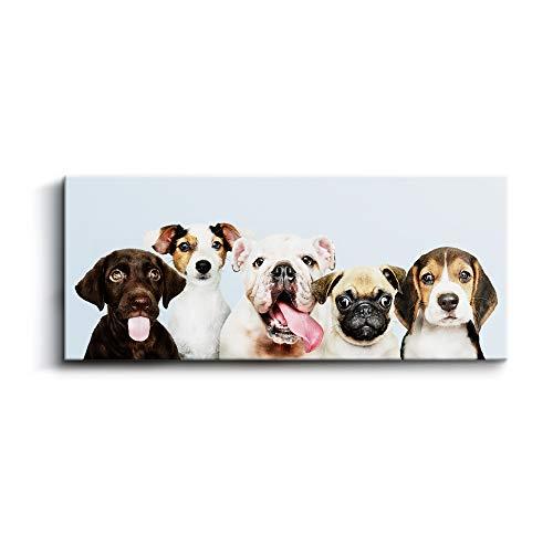 Cuadro de Retratos de Perros Preciosos, 120 x 50 x 2 cm, Decoración Moderna para Salón y Dormitorio, Lienzo de Poliéster y Bastidor de Madera, Color Azul, LEN-007