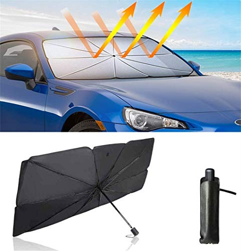 Koxingt Car Windshield Sun Shade Foldable car Sun Umbrella(UPF50 +),Blocks UV Rays Sun Visor for car(57 31 inches) Fit Most Vehicle