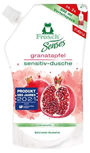 Frosch Senses Granatapfel Sensitiv-Dusche, Duschgel für empfindliche Haut geeignet, pH-hautneutral & vegan, ohne Mikroplastik, Körperpflege, klar, Nachfüllbeutel, 500 ml