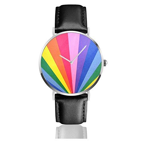 Relojes Anolog Negocio Cuarzo Cuero de PU Amable Relojes de Pulsera Wrist Watches Arco Iris Abstracto Colorido