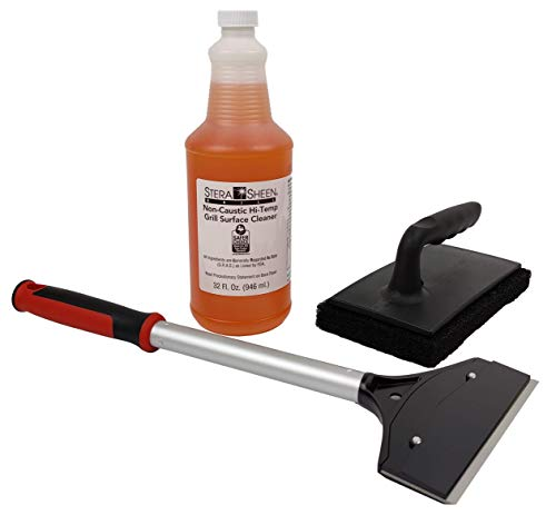 The FryOilSaver Co. Griddle Cleaning Kit | Grill Cleaner Liquid, Premium Griddle Scraper and Scrubber | All Your Griddles Cleaning Needs | 4 Piece Griddle Cleaning Kit