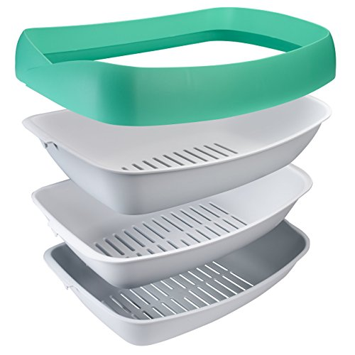 """Luuup Litter Box - 3 Sifting Tray Cat Litter Box- Easy to Clean with Non-Stick Coating - Stylish, High-Sided Design with Spill Guard (15.4""""x20.2""""x7.5"""")"""