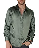 VICALLED Men's Satin Luxury Dress Shirt Slim Fit Silk Casual Dance Party Long Sleeve Fitted Wrinkle Free Tuxedo Shirts (Army Green, XS)