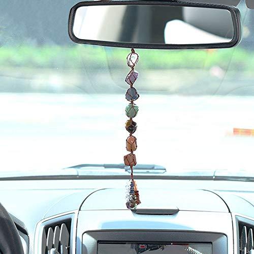 LJD Auto-Dekor-Charme-Anhänger-Verzierung, Autoinnenspiegel Naturstein 7 Chakra Unregelmäßige Ornament Healing Aura Rollen Gem Troddeldekoration