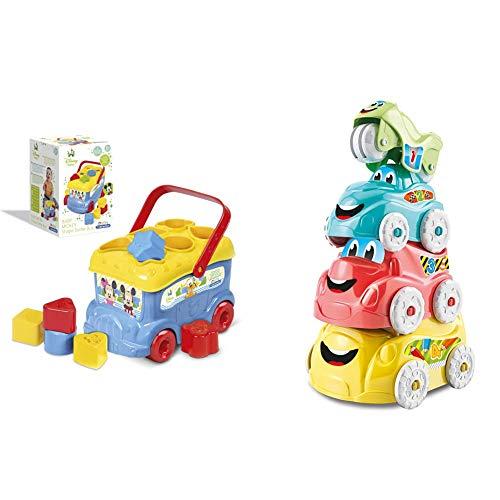 Clementoni Topolino Bus Inserimento Gioco per Bambini Colore Multicolore, 14395 & Baby Veicoli attività Scopri e Impila Gioco per Bambini, Multicolore, 17111