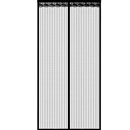 Magnetic Fly Screen Door,Keep Fresh Air in & Bugs Out,Encryption for Anti Mosqui to and Magnetic Soft Door in Summer, Easy to Install Without Drilling-Black_120 220