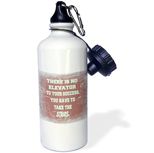 3dRose Elevator to You Success, You Have to Take Stairs. Saying. Botella de agua deportiva, 21oz (wb_218112_1), aluminio, color blanco