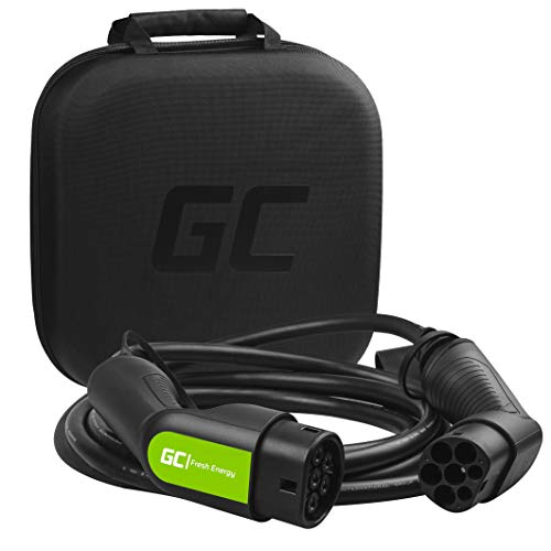 Green Cell GC Type 2 Cable de Carga EV Vehículo Eléctrico PHEV | 7,2kW | 32A | Tipo 2 a Tipo 2 | 5 Metros | Monofásico | Compatible con EQC, i3, Leaf, A250e, CITIGOe IV, Kuga PHEV, e-Golf, Fortwo