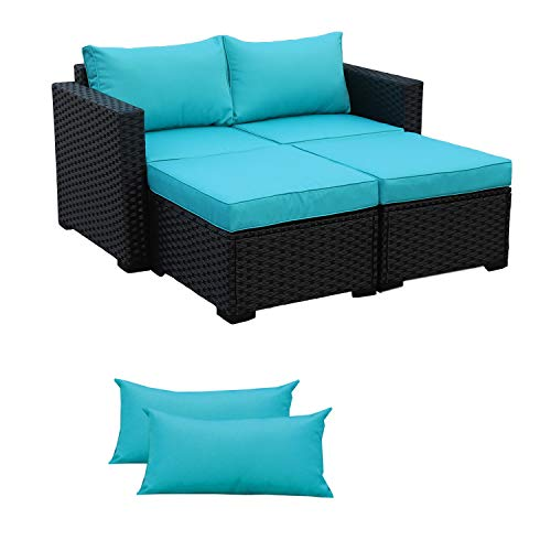 3-Piece Patio Wicker Conversation Furniture Set,Outdoor PE Rattan Sectional Loveseat and Ottoman Sofa Set, Turquoise Cushion/Black Wicker