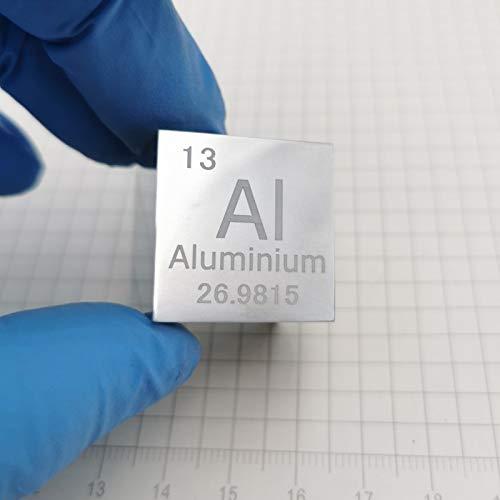Cubo De Metal De Aluminio De 10 Mm / 25,4mm 99,999% Tabla Periódica Grabada De Metal Puro para Colecciones De Elementos, Experimentos O Regalos