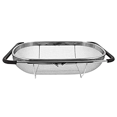 Makerstep Over the Sink Colander Strainer Basket Stainless Steel, For Kitchen Sink with Rubber Grip, Fine Mesh Stainless Steel, Large, Expandable Metal Strainer for Pasta, Food, Vegetables