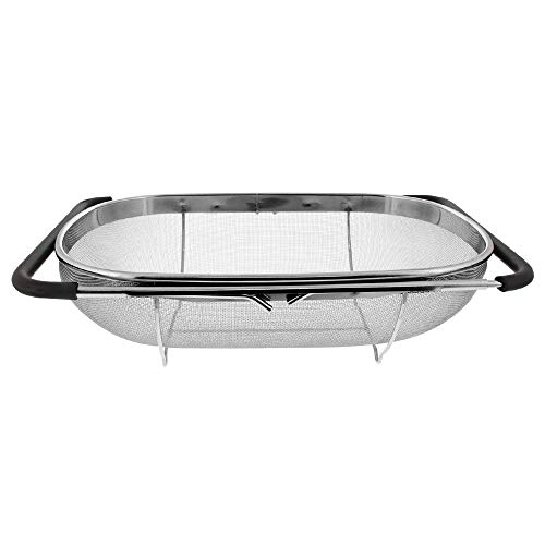 Makerstep Over the Sink Colander Strainer Basket Stainless Steel, For Kitchen Sink with Rubber Grip, Fine Mesh Stainless Steel, Large Kitchen Gadgets Tools, Expandable Metal Pasta Strainer