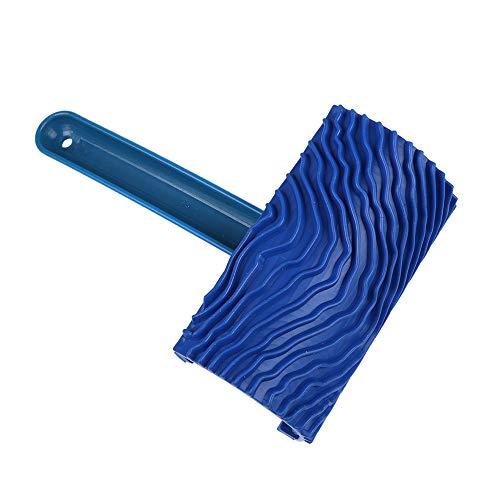 KKmoon schilderij roller borstels rubber schildergereedschap verfroller DIY schilderij grain tool houtnerf patroon verfroller met greep, blauw