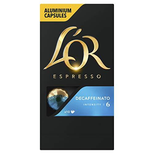 LOR Espresso Koffiecups Decaffeinato Cafeïnevrij (100 Espresso Koffie Capsules, Geschikt voor Nespresso Koffiemachines, Intensiteit 06/12, 100% Arabica Koffie), 10 x 10 Cups